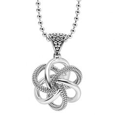 Love knot pendant and 30 inch sterling silver ballchain necklace. Finished with a lobster clasp.