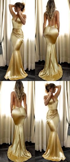 elegant long gold mermaid prom dresses,sexy backless v neck party dress, formal evening dress for women