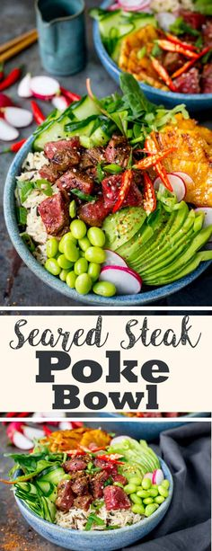 Lightening things up without forfeiting any of the flavour in this seared steak poke bowl! A meaty twist on the Hawaiian classic! #poke #pokebowl #hawaiian #nourishbowl #steak #beefpoke #pokebowlrecipe