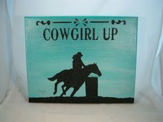 """Original Hand Painted Western Barrel Horse Canvas Painting Cowgirl Up 8 x 10"""""""