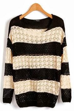 Adorable batwing sleeves crochet strip sweater fashion