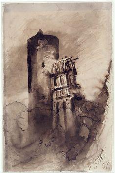 1876 - Dessin de la tour Mélusine en ruine du château de Fougères, ville natale de Juliette Drouet, qu'il avait visité et dessiné en juin 1836