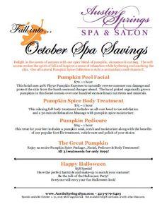 October Specials Spa Specials, Glitz And Glam, Spa Treatments, Pedi, Massage, October, Marketing, Living Room