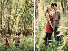 Whimsical nature engagement shoot. Bobbi+Mike Photography
