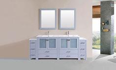 "84"" Newport Gray Double Modern Bathroom Vanity with 2 Side Cabinets and Integrated Sinks #BathroomRemodel #BlondyBathHome #BathroomVanity #ModernVanity"