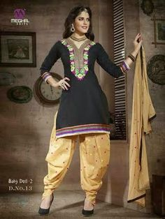 Beautifully Designed Black Patiyala Dress in Cotton with awesome embroidery work done. Comes along with Beige contrast matching finely embroidered Bottom and Duppatta.