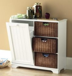 Storage Cabinet w Tilting Trash Bin & Wicker Drawers in... | Shop home_organizing,cleaning, home | Kaboodle
