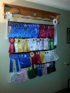 Horse shw ribbon display Love this idea-a bit too many ribbons for my preference--I like to spread mine around the house, but a good idea. Horse Ribbon Display, Show Ribbon Display, Horse Show Ribbons, Trophy Display, Award Display, Display Ideas, Ribbon Boards, Ribbon Quilt, Ribbon Holders