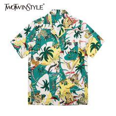 Manches Courtes Blouse Chemise Hawaii Imprimer Blusas Lâche Turn-down Col En Mousseline de Soie Femmes Blouse Tops Cardigans For Women, Blouses For Women, Funky Shirts, Harajuku, Beach Shirts, Print Chiffon, Korean Outfits, Cute Tops, Shirt Blouses
