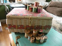 Vintage sewing box Wooden thread spools by Traincasesandmore