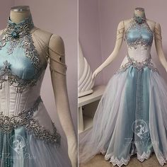 Our customer sent us an image of Tyrande Whisperwind from World of Warcraft to use as inspiration in her gown design. I wanted to give the feeling that her gown was woven from moonlight! We used a two-tone crinkle barbie organza over a teal satin to give that moonlight glow. Her corset and peplums are made from a iridescent tiny scale patterned brocade. We stacked silver vine lace over a floral metallic lace to trim her neckline and corset. For that midnight glimmer, crystals and pearls…