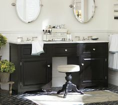 Houlton Double Sink Console | Pottery Barn.... could we do this with two single cabinets and a connecting piece?