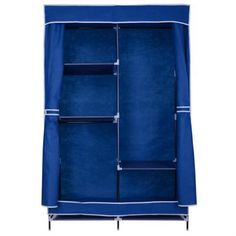 42 Inch Portable Fabric Closet Organizer Wardrobe Storage Rack Blue