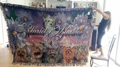 6 dog merge from different photos created on a fantasy background of flowers. This was a kennel blanket completed for a customer...Using a beautiful script and style font..  Woven on our 80x60 inch Mega luxury throw blanket $120.00 free shipping within the U.S.