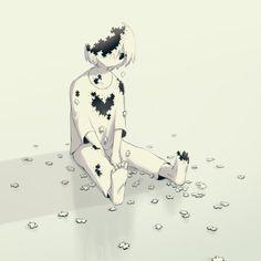 Este artista japonés nos pone a pensar con sus ilustraciones This Japanese artist makes us think with his illustrations Art And Illustration, Dark Art Illustrations, Dark Anime, Anime Kunst, Anime Art, Manga Anime, Anime Negra, Drawing Feelings, Illustrator