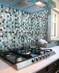 Mosaic Onix Hex Aquamarine glass mosaic turquoise brown white grey