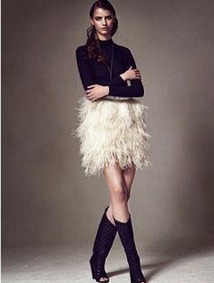 YVETTE HASS Mini Feather skirt in FEMINA