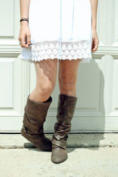 Sundress and boots.
