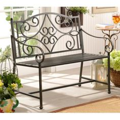 The Black Scroll Metal Bench makes for perfect, stylish patio furniture. Iron Patio Furniture, Metal Furniture, Sofa Design, Wrought Iron Bench, Iron Table, Interior Design Living Room, Home Decor, Benches, India