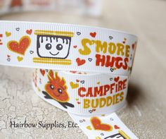 S'more Hugs Camping Ribbon 5 yards 7/8 inch by HairbowSuppliesEtc