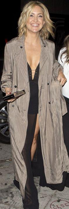 Kate Hudson in Coat – Raquel Allegra  Purse – Lee Savage  Shoes – Giuseppe Zanotti