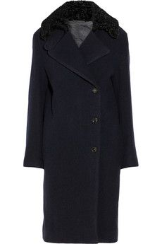 Acne Era Boiled faux astrakhan-trimmed wool coat