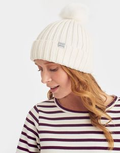 Pop-a-pom Cream Bobble Hat , Size One Size | Joules US