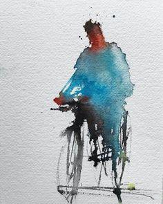 Geremia Cerri Source by Naamaasteee Watercolor Painting Techniques, Watercolor Sketchbook, Watercolor Portraits, Abstract Watercolor, Watercolor Illustration, Abstract Art, Gravure Illustration, Guache, Bicycle Art