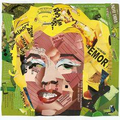 Marilyn Monroe magazine cutout collage by Evan Mullins inspired by Warhol's Marilyn Monroe