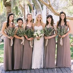 """""""All my bridesmaids wore the same color dress in a different style from Amsale,"""". """"All my bridesmaids wore the same color dress in a different style from Amsale,"""" Julie says. """"The dresses were all long and chiffon fabric in truffle color. Amsale Bridesmaid, Neutral Bridesmaid Dresses, Bridesmaids And Groomsmen, Wedding Bridesmaids, Bridesmaid Bouquet, Wedding Gowns With Sleeves, Long Sleeve Wedding, Cheap Wedding Dress, Wedding Dresses"""