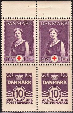 Denmark - Crown on Women stamps theme. Red Cross stamps.