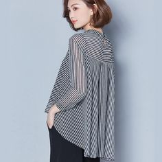 Turn-down Collar long Sleeve black and white Blouse Shirt