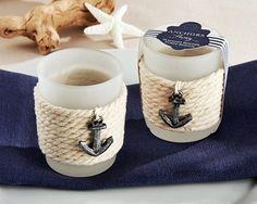 """Anchors Away"" Nautical Rope Motif Tealight Holder (Set of 4)"