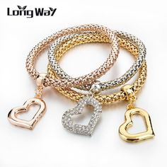 Hot Gold/Silver Bracelets Bangles 3pcs Multilayer Crystal Charm Women Bracelet Famous Jewellery Plusera SBR140324 $6.08 => Save up to 60% and Free Shipping => Order Now! #fashion #woman #shop #diy www.jewelrycreati...