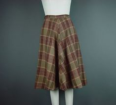 "50s Full Skirt Vintage Late 50s Early 60s Plaid Browns Fit Flare John Meyer W 26"" XS S XSmall Small by mustangannees on Etsy"