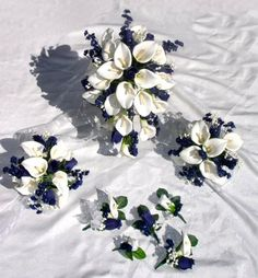 navy bouquets coral calla lillies | NAVY BLUE CALLA LILIES Rose BRIDAL Wedding Flowers SET