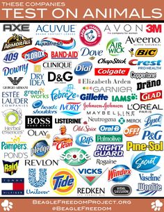 These companies test on animals, and most of them have crazy amounts of weird chemicals too... list to avoid!