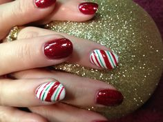 Christmas candy cane nails by Debbrew