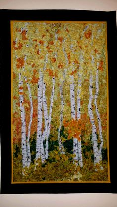 Wall Hanging, Confetti Quilt, Birch Trees, Fall Quilt, Art Quilt, Fabric Art, Shredded Quilt, Ready to Ship by JoansCreativeQuilts on Etsy
