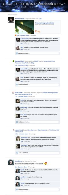 If Game Of Thrones took place entirely on Facebook: Season 3, Episode 6.
