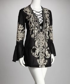 Take a look at this Steve Madden Black Lace-Up Cover-Up by Steve Madden, AquaVita & Cruz Swimwear on #zulily today!