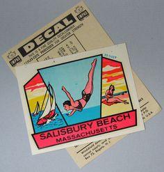 Items similar to Travel Decal Beach Resort Decal MA Sticker Salisbury Beach Water Slide Decal Summer 1950 Massachusetts Souvenir on Etsy