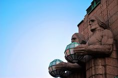 Two of the Torch bearers by Emil Wikstrom giving light to the travellers passing trough the Helsinki Railway Station. Helsinki, Grand Tour, Capital City, Finland, Mount Rushmore, Tours, Sculpture, Travel, Viajes