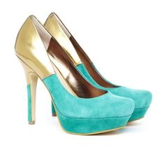 Aqua Suede and Gold Platforms