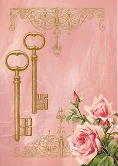 ~Vintage Keys and Roses~ Decoupage Vintage, Vintage Crafts, Vintage Paper, Vintage Labels, Vintage Ephemera, Molduras Vintage, Paper Art, Paper Crafts, Images Vintage