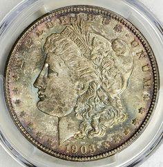 1903 Morgan Silver Dollar PCGS MS66 Toned Coin