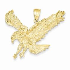Textured 10k Yellow Gold One Sided Eagle Head Charm Pendant