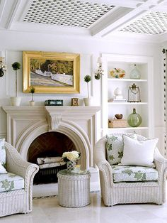 Living Room - The fireplace mantle with it's graceful arch echoes those in the… Wicker Headboard, Wicker Bedroom, Wicker Sofa, Wicker Furniture, Wicker Dresser, Wicker Trunk, Fireplace Mantle, Living Room With Fireplace, My Living Room