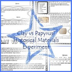 Clay vs Papyrus Historical Science Experiment   Etsy Classroom Setting, A Classroom, Science Experiments, Ancient Egypt, Study, Clay, History, Clays, Studio