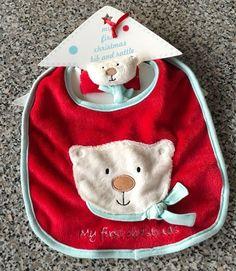 Jellycat Jelly Kitten Teddy Bear Face My 1st Christmas Baby Bib Wrist Rattle New #jellycat #NA